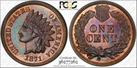 1871 INDIAN CENT PCGS MS-65 BROWN (CAC)