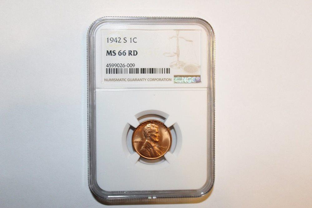 1942-S Lincoln Cent Gem BU RD