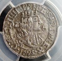 1695, Cagliari, Charles II. Silver 2½ Reali (12 Soldi, 6 Denari) Coin.PCGS AU50!