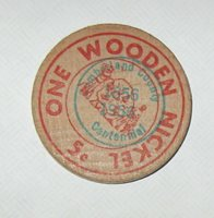 Crossville, Tennessee, Cumberland County, 1956 Centennial WOODEN NICKEL Token B