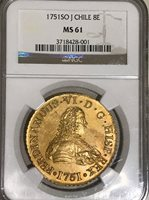 Ferdinand VI gold 8 Escudos 1751 So-J Gold Coin NGC MS 61 Mint Colonial Chile