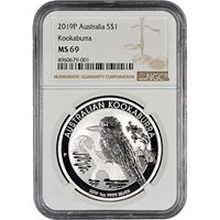 2019 1 oz Silver Australian Kookaburra Coins NGC MS69