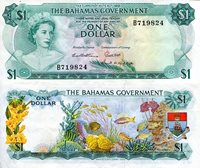 Bahamas 1 Dollar Pick #: 18b 1965 VF (Paper is crinkled)Other Caribbean Islands - Only 2 in stock Green/Multicolored Queen Elizabeth II, Fish, crestNote 6 x 3 North and Central America Shell