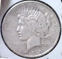1934 S Peace Dollar in Very Good Condition