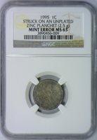 1995 Lincoln Cent Struck On Unplated Zinc Planchet (2.5g) Mint Error NGC MS-63