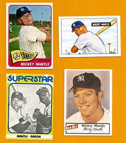 Mickey Mantle Yankees Baseball Card Lot 4 1954 Dan Dee Reprint 1951 Bowman Rookie Reprint 1965 Reprint 1980 Superstar