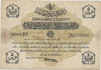 Ottoman Empire- 5 piastres 1913 P#- 87 (2)