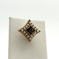 Vintage 10k Gold Alpha Sigma Chi Fraternity Sorority Seed Pearl Enamel Pin