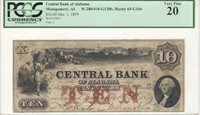$10 Obsolete, 1859, AL65-G16b, Central Bank of Alabama, Montgomery, AL PCGS VF20