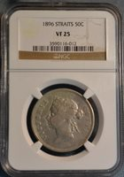 1896 Straits Settlements 50C Silver Coin, NGC VF25, Nice Coin