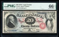 """FR.129 1878 $20 LEGAL TENDER PMG66 EPQ """"AWESOME COLOR"""""""