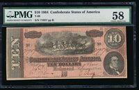 Fr. T-68 1864 $10 Confederate PMG 58 71957