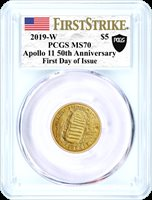 2019 W $5 Gold Apollo 11 50th Anniversary PCGS MS70 First Strike First Day of Issue Moon Black Shield Label