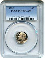 1978-S PCGS PR69DCAM proof Roosevelt dime deep cameo