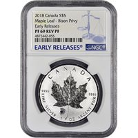 2018 1 oz Silver Wood Bison Privy Canadian Maple Leaf Reverse Proof Coins NGC PF69 ER