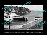 OLD 8x6 HISTORIC PHOTO CHARLESTOWN CORNWALL ENGLAND VIEW OF HARBOUR c1940 1