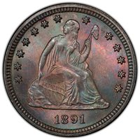 1891 Seated Quarter PCGS MS-65 Toned