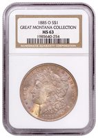 1885-O Morgan Silver Dollar From the Great Montana Collection NGC MS63 Toned CPCR 0254