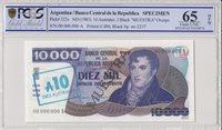 Argentinien 10 Australes/10000 Pesos 1985 Specimen Pcgs 65 Opq