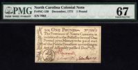 1 Pound December 1771 North Carolina Colonial Note FR NC-139 PMG 67 EPQ