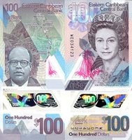 """Eastern Caribbean States 100 Dollars Pick #: New 2019 UNCOther WE Prefix Pink Young portrait of Queen Elizabeth II; Sir Arthur Lewis; Map of ECS IslandsNote 5 3/4"""" x 2 3/4"""" North and Central America Polymer window with small depiction of a turtle"""
