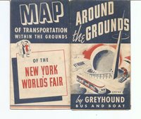 NEW YORK WOLD'S FAIR. 1940, GREYHOUND MAP OF TRANSPORTATION WITHIN THE GROUNDS