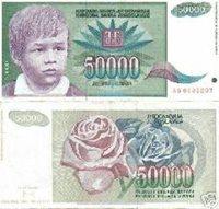 1992 50 000 Dinaras YUGOSLAVIA Bank Note - VF- P117