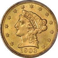 1903 $2.50 Liberty Head Quarter Eagle PCGS MS66 CAC