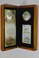 Stamps Set $5 Pure Silver Proof Canada 2005 White Tailed Deer and Fawn Coin