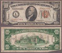 """1934-A $10.00 """"Hawaii"""""""