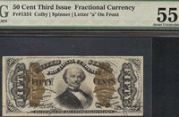 50 CENT SPINNER FRACTIONAL CURRENCY NOTE PAPER MONEY Fr 1334 SM a GRADED PMG 55