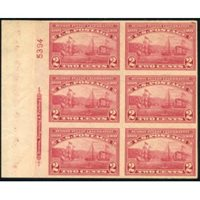 US 373 Early Commemoratives VF NH Lt Plate Block