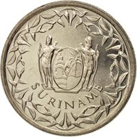 Surinam, 25 Cents, 1989, MS(63), Nickel plated steel, KM:14A