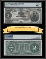 2 Dollar 1890 Usa Treasury Note Scarce Large Brown Seal Pmg 30 Very Fine