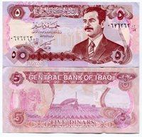 IRAQ - Saddam Hussein P80 5 Dinar note - UNC