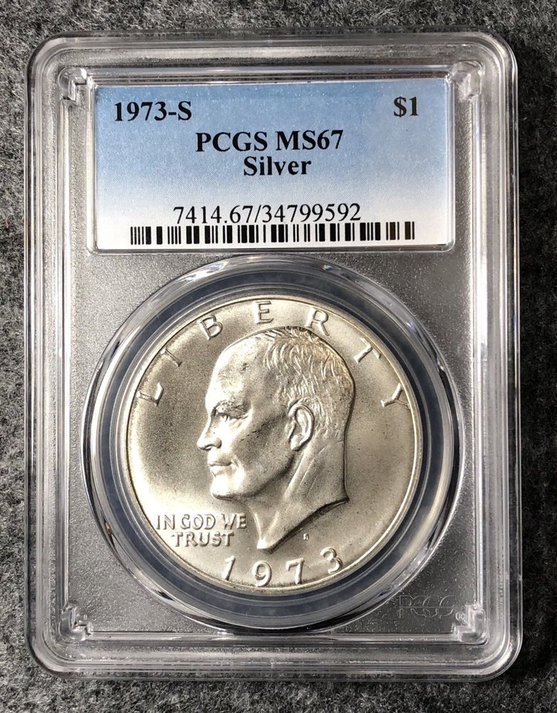 1973 S $1 Silver Ike Eisenhower Dollar PCGS MS67