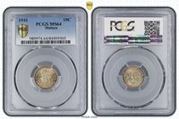 """ Rainbow "" PCGS MS-64 BU 1941 Malaya Silver 10 Cent Unc Uncirculated"