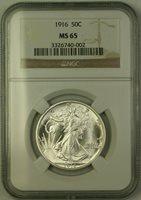 1916 Walking Liberty Half Dollar 50c Silver Coin NGC MS-65 Gem BU (JAB)