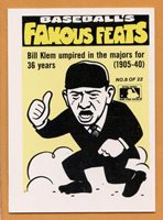1986 Fleer Famous Feats Baseball Card 8 Bill Klem