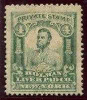 Holman Liver Pad Co. New York, N.Y. Springer 127M1 4c green F-VF crease