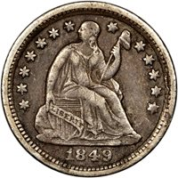 $0.05 / H10c 1849-O Seated Liberty Half Dime - VF