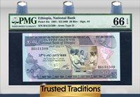 50 Birr 1991 Ethiopia National Bank Pmg 66 Epq Top Pop Finest Known