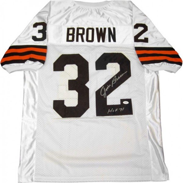 Jim Brown Hof 71 Autographed Cleveland Browns White Jersey Jsa