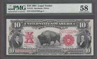 FR. # 122 1901 $10 SILVER CERTIFICATE PMG-58 CHOICE.