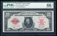 "FR.123 1923 $10 LEGAL TENDER PMG66 EPQ GEM UNCIRCULATED ""POKER CHIP"" NOTE"