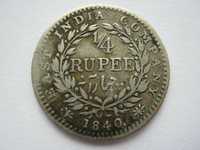 East India Company 1840 silver 1/4 Rupee NF Bombay distorted flan