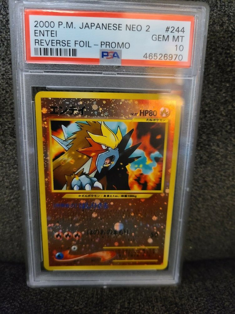 Reverse Holo Promo Pokemon Card Entei #244 Neo 2 PSA 10 GEM MINT