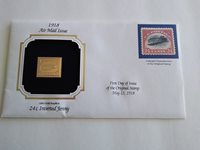 22KT Gold Replica US Stamp 1918 24 cent Inverted Jenny