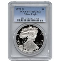 2002-W 1 oz Proof Silver American Eagles PCGS PR70 DCAM
