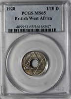 1928 British West Africa George V 1/10 Penny PCGS MS65 KM#7